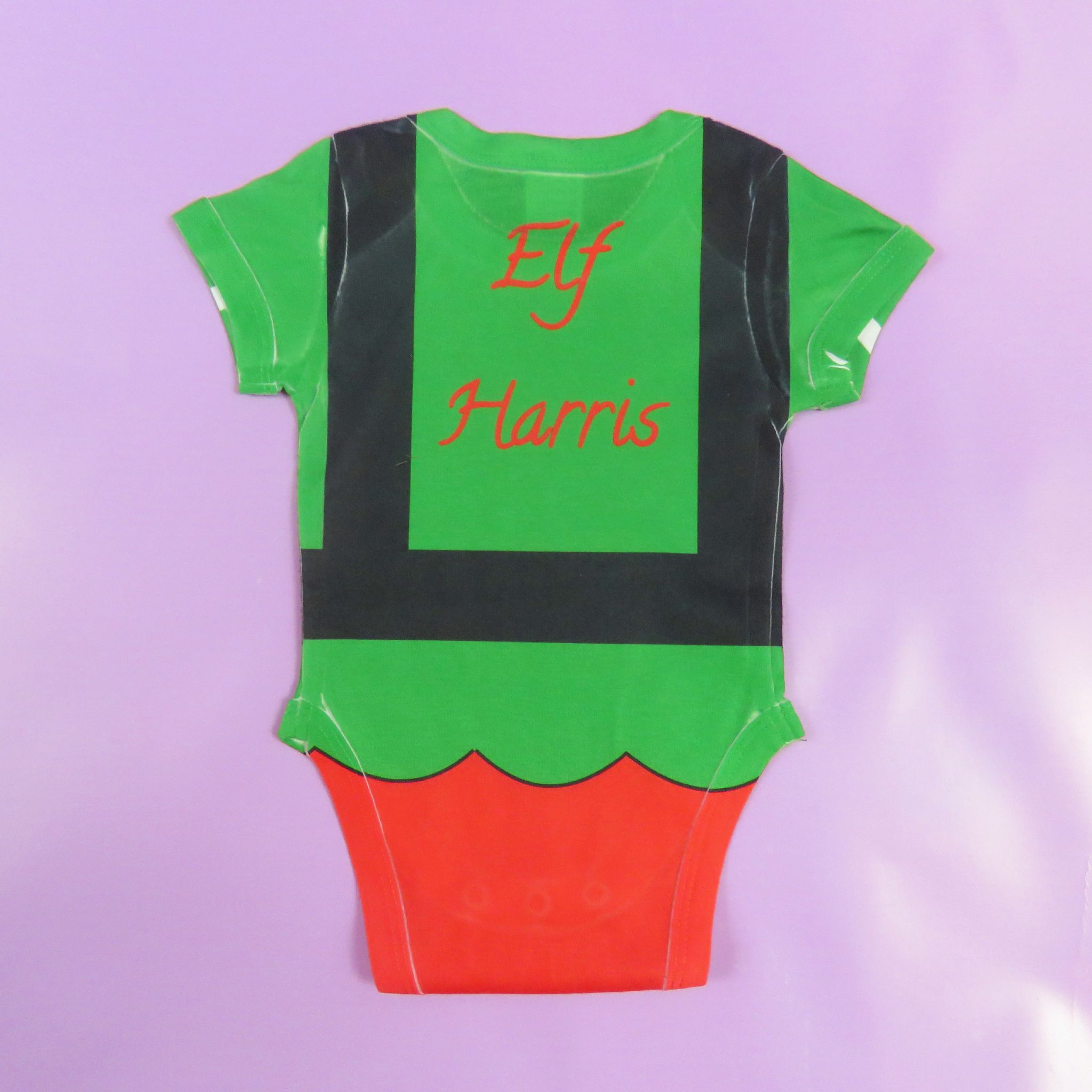 ad5a2d2e41c3 Elf Baby Vest Full Print Personalised First Christmas Babyvest 1st ...